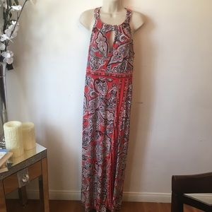 Red, white/ paisley floral, peep-hole maxi dress